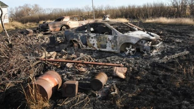Police say Roberto Joseph Vicente's Chevrolet Cobalt was found, burned, in an abandoned farm field west of Davidson, Sask.