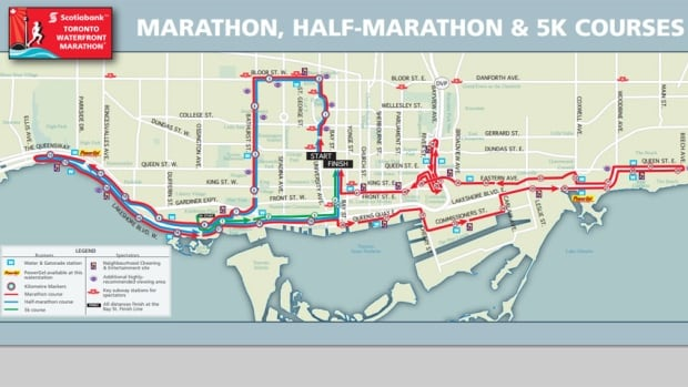 The Scotiabank Waterfront Marathon will force road closures from High Park to the Beaches on Saturday and Sunday.