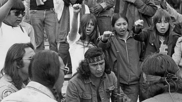 Louis Cameron (centre) and the Ojibway Warrior Society occupy the Anicinabe Park, Kenora, Ont., July 1974.