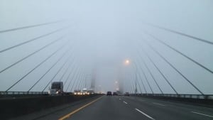 Heavy fog on Port Mann Bridge