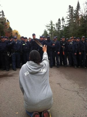 Rexton, N.B., protest photo from APTN video journalist