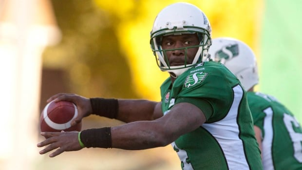 Saskatchewan Roughriders quarterback Darian Durant against the Edmonton Eskimos during in Regina, Sask., Saturday, October 12, 2013.