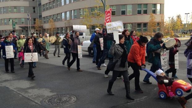 Several dozen people attended the event to protest fracking in Yellowknife