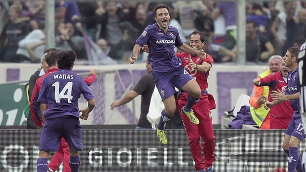 Giuseppe Rossi of Fiorentina celebrates after scoring a goal against Juventus at Stadio Artemio Franchi on October 20, 2013 in Florence, Italy.