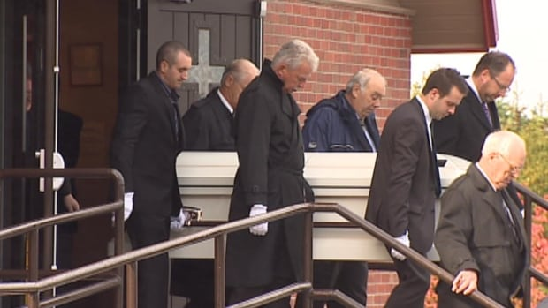 The funeral for Juliane Hibbs who was shot and killed by her former boyfriend Brian Dawe.