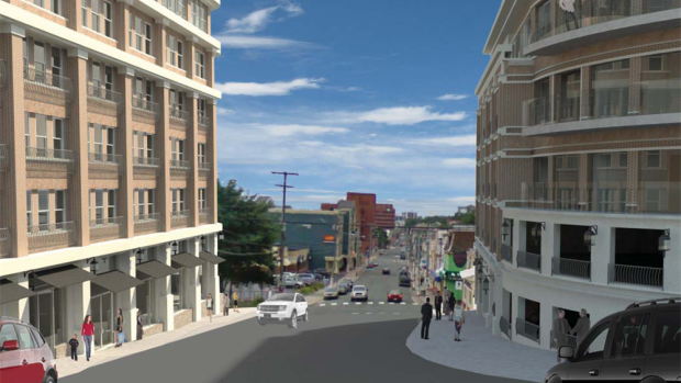 An artist's conception shows a plan to erect two buildings, including a boutique hotel and condos, on opposite sides of Duckworth Street.