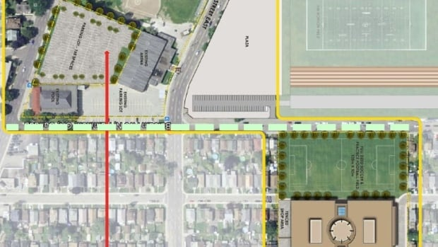 This image from the local public school board shows the location of the future north-end high school, and its parking lot about 200 metres to the left.