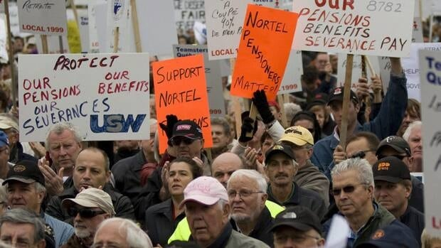Nortel pensioners take part in a Nortel pensioners rally as they are joined by approximately four thousand supporters on Parliament Hill in Ottawa, Ont., on Oct. 21, 2009. The rally was to highlight the impact of the  former technology giant's bankruptcy and sell off on the company's pensioners, terminated and disabled employees.