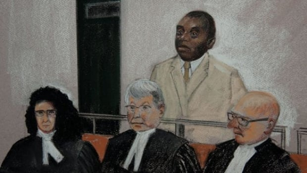 Désiré Munyaneza is shown in a sketch from a federal court appearance in 2013.