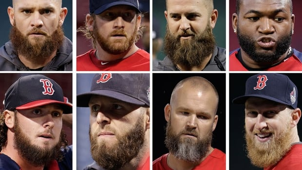 "Most everyone in this World Series seems to be growing a beard. The Red Sox sport the most serious ones, so much so that theirs have names - Mike Napoli's clump (top row, second from right) is called ""The Siesta."" The Cardinals got into the spirit later in the season and definitely trail in this department."