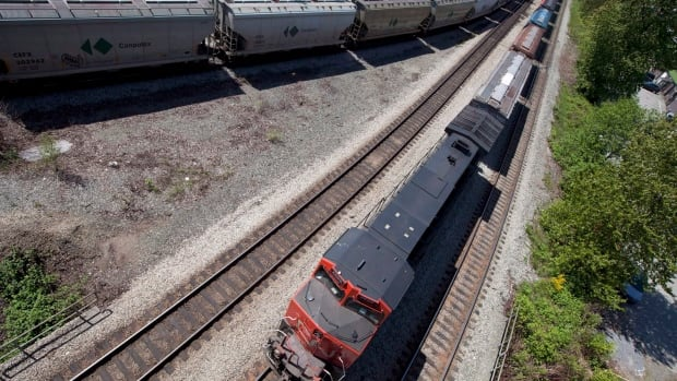Two CN trains are seen at a rail intersection in North Vancouver, B.C. Prairie farmers say the rail companies should be fined for not getting grain to market on time.