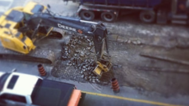 Construction crews removed stones on Bay Street just north of Bloor Street recently.
