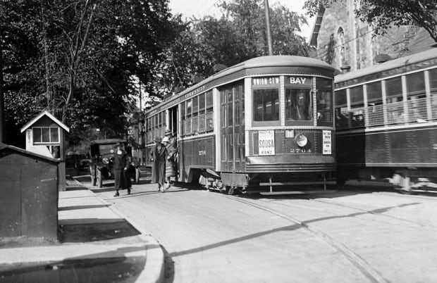 Bay streetcar rides on Bloor Street in 1925