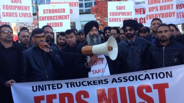 Hundreds of truck drivers turned out for the protest in downtown Vancouver on Wednesday.