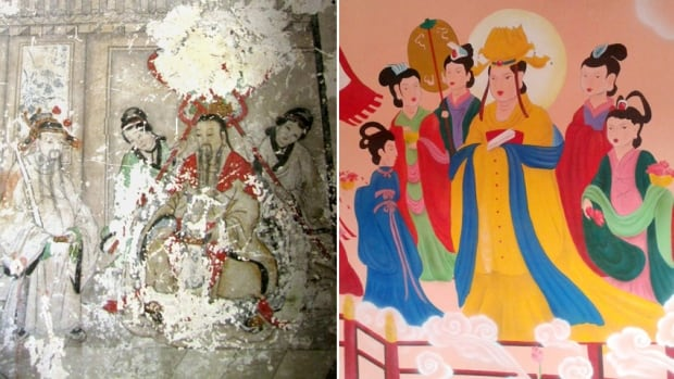 Chinese authorities are under fire for a botched restoration effort at Yunjie Temple in Chaoyang, in northeast Liaoning province. A detail of one of the temple's delicate, crumbling Buddhist frescos is seen at left. The ancient artwork has been painted over completely with cartoon-life figures from Taoist myths, seen at right.
