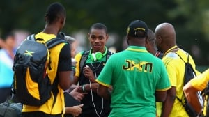Warren Weir of Jamaica is seen here talking to teammates ahead of the 14th IAAF World Athletics Championships Moscow 2013 in August. A team from the World Anti-Doping