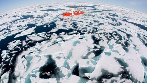 The Canadian Coast Guard icebreaker Louis St. Laurent makes its way through the ice in Baffin Bay in July 2008.