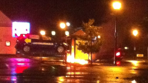 The witnesses say the intensity of fire caused the glass wall to collapse at the bus shelter in Berwick.