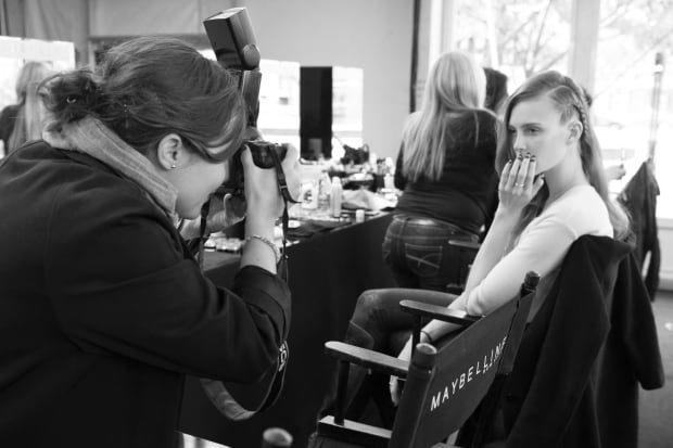 Backstage to get shoots of model's nails for Essie Canada.