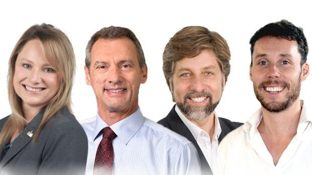 Plateau candidates Piper Huggins, Gilbert Thibodeau, Luc Ferrandez and David Côté.
