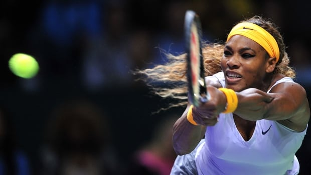 Serena Williams returns the ball to Petra Kvitova during their WTA Championships match Thursday in Istanbul. Williams prevailed 6-2, 6-3 to reach the semifinals.