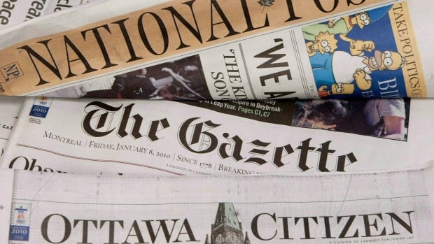 Some of Postmedia's newspapers are displayed in Ottawa on January 8, 2010. Weak print advertisement revenues weighed heavy on Postmedia's fourth quarter results Thursday, and the company doesn't expect any improvement into next year as it works to turn around its operations.
