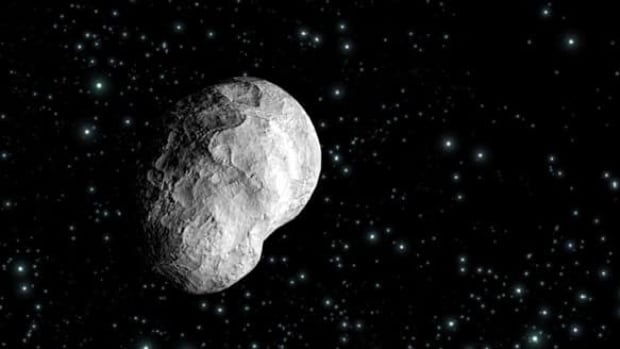 An artist's impression shows the Steins asteroid. At least a couple of companies have publicly expressed interest in mining asteroids for resources.