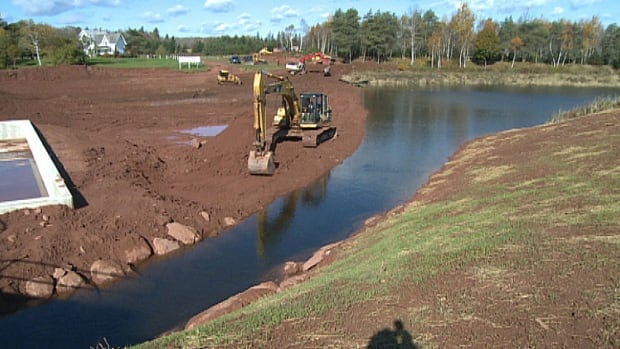 A backhoe was putting the finishing touches on Scales Pond Thursday.