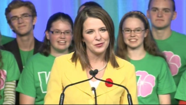 Wildrose Leader Danielle Smith gives her keynote address at the party's annual general meeting in Red Deer on Friday night.