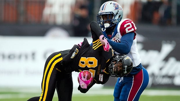 Hamilton Tiger-Cats kick returner Brandon Banks (87) returned a missed field 106 yards for the go-ahead score against the Montreal Alouettes Saturday afternoon.