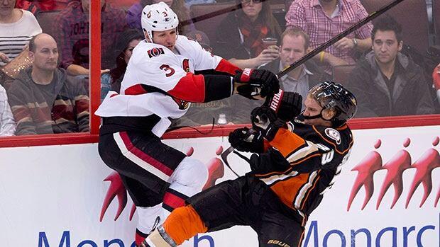 Anaheim Ducks left winger Jakob Silfverberg, right, suffered a broken hand against the Senators on Friday night in Ottawa. Adrian Wyld/Canadian Press