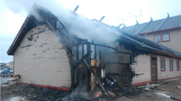 A storage area being used by Canada Post was destroyed by fire in Natuashish.