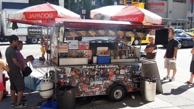 Popular street food chain Japadog sells 'Japanese-style hot dogs,' seen here at a well-known Vancouver location on Burrard Street.