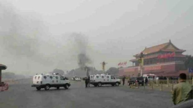 Five people were killed, including three inside the vehicle and two bystanders, after an SUV veered inside a barrier separating a crowded sidewalk from a busy avenue and then drove toward Tiananmen Gate opposite the sprawling Tiananmen Square. Another 38 people were injured.
