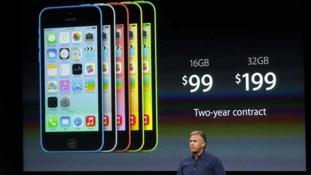 Apple launched a new line of cheaper-priced iPhones last month. The 16GB iPhone 5C sells for $129.99 Cdn in Canada and $99 US in the U.S. with a two-year cellphone plan. The declining price of Apple's iPhones helped drive its profits down even as its revenue rose in the fourth quarter.