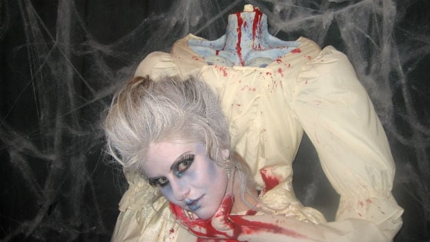 Nicole Magne makes costumes, including this headless one of Marie Antoinette.
