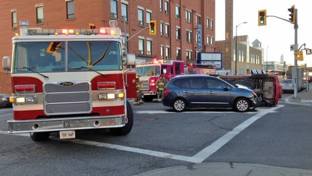 Beech and Elgin Streets are currently closed as emergency officials attend the crash scene.