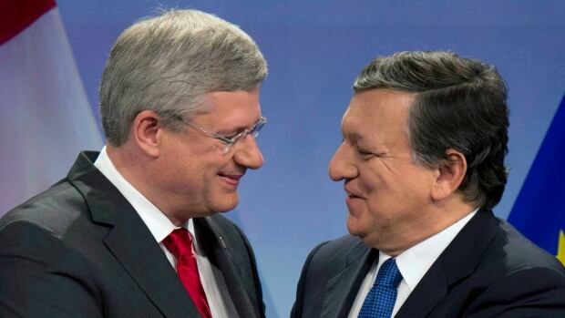 Canadian Prime Minister Stephen Harper and European Commission President Jose Manuel Barroso shake hands after signing an agreement in principle on trade last October in Brussels.