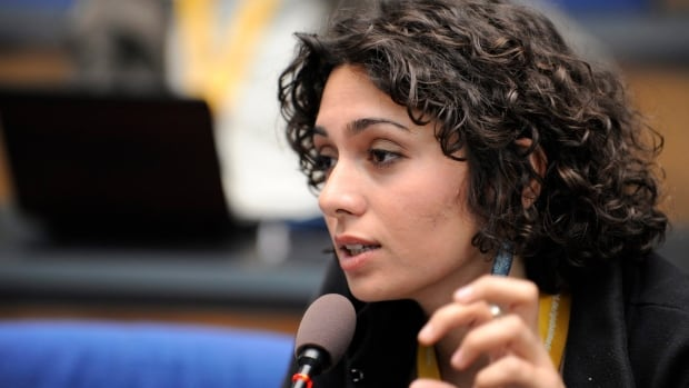 Iranian actress and activist Pegah Ahagarani, seen speaking in Germany in 2009, has been arrested and is being detained in a Tehran prison, according to media reports citing her family.