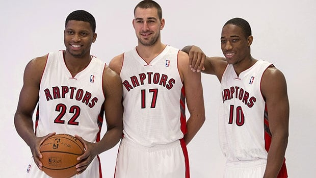 Rudy Gay, left, Jonas Valanciunas, centre, and DeMar DeRozan hope to lift the Raptors to a playoff spot this season.