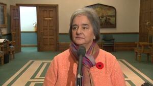 Lorraine Michael speaks to reporters on October 29, 2013