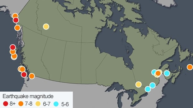 Earthquakes in Canada greater than 5.0 magnitude since 1700.