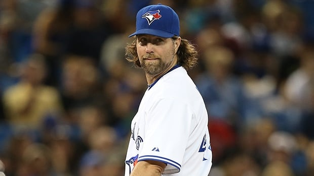 Pitcher R.A. Dickey of the Toronto Blue Jays during a game against the Tampa Bay Rays on September 27, 2013 at Rogers Centre in Toronto.