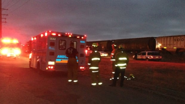 A man was taken to hospital after being struck by a train in Regina, west of the downtown. He later died, police said.