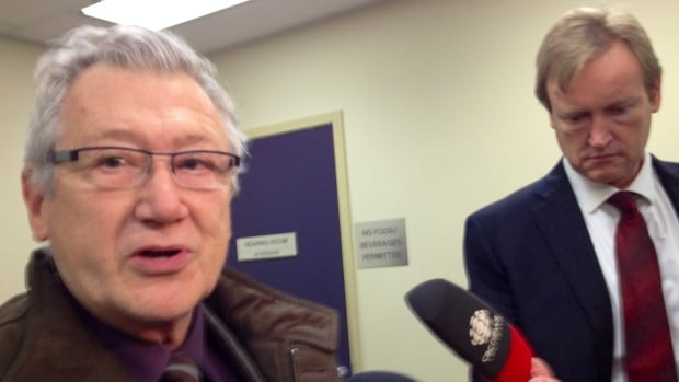 Lawyer Brian Fish speaks to media after a hearing at the Law Enforcement Review Board in Edmonton in October 2013.