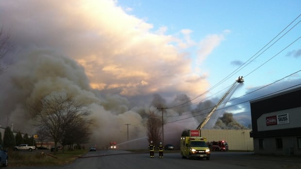 About 3,600 kg of polystyrene burned in the fire, after an explosion at a chemical plant in Granby.