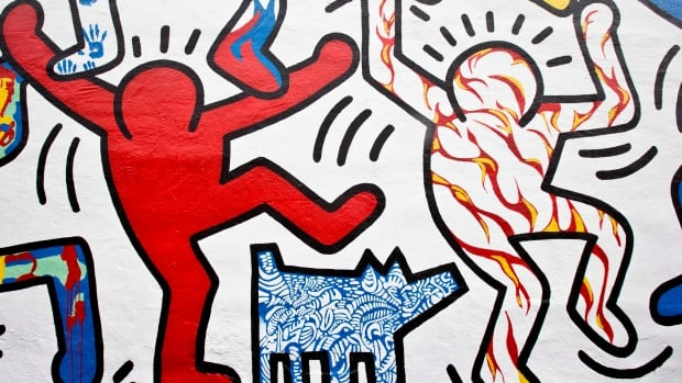 A detail of the 1987 mural We The Youth by late artist Keith Haring is seen in Philadelphia.