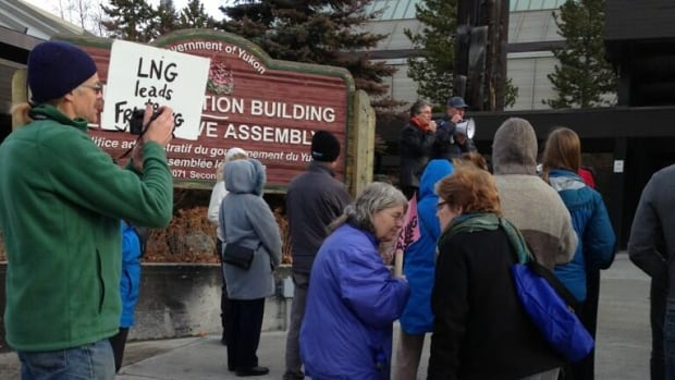 Anti-fracking protesters greet the opening of the Yukon legislative assembly.