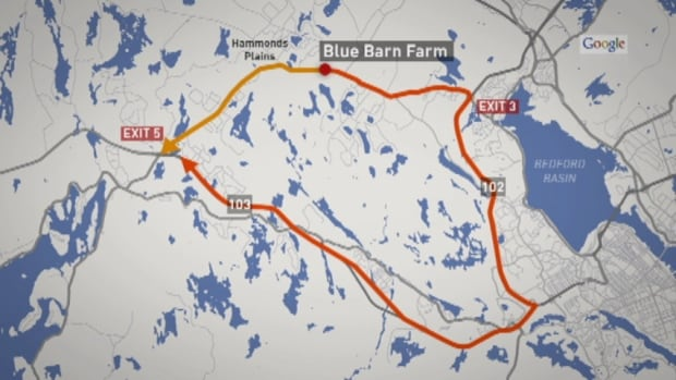 The orange line is the regular seven-kilometre route Murray takes. The red line is the 47-kilometre detour Halifax is forcing him to take.