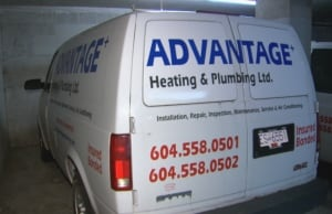 Advantage Heating and Plumbing van